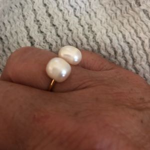 Pearl and Gold Adjustable Ring